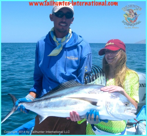 Pancho & Cheyenne with her 45 lb Roosterfish tags 1-14