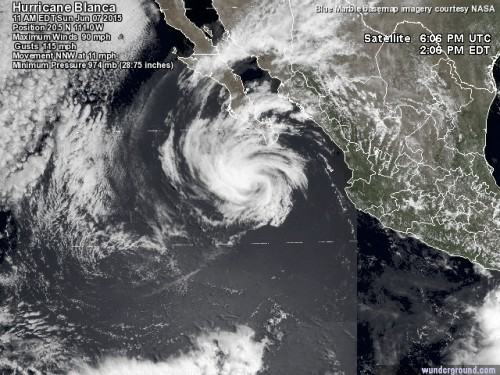 As of 11 a.m Sunday morning, this is Hurricane Blanca