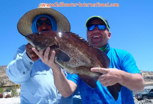 Brad Sleder with Captain Jorge and a nice cabrilla headed to the dinner table at Tailhunters! Brad is from N. Carolina.