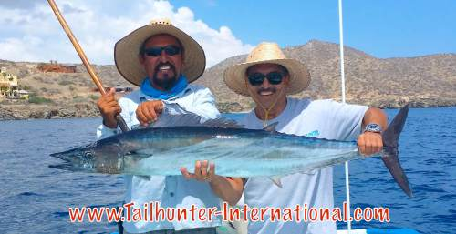 Jeff Sakuda, our amigo, from Cerritos CA, who usually makes two trips a year to fish with us and Captain Jorge had a banner week landing 4 wahoo and losing one fish that was even larger. Note how close to shore they area. This is Punta Perrico just outside Bahia de los Muertos.