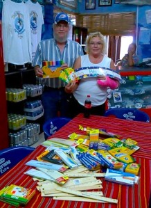 Al Jones and Jeanne Sheasby always bring stuff and no different this year. School supplies for the kids.