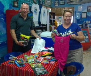 Greg and April Hayes took home alot of fish this week, but they also left even more...great school supplies and clothes!