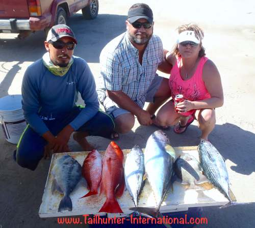 You can tell the seasons are changing. From Rock Springs, Wyoming, Brandon and Tanya McGarr show off the type of catch we'll be seeing more of...a mix of offshore/inshore species with the inshore species becoming more prevailant. But a sweet mix of fish including a tuna snapper, pargo, triggerfish and bonito.