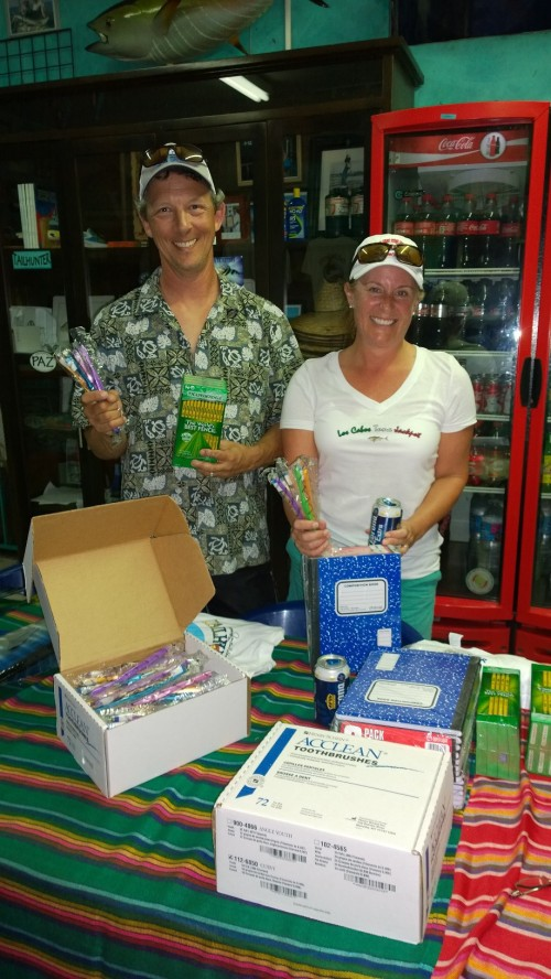 All the way from Alaska, Lonn and Emma Goldbeck brought down school supplies and toothbrushes along with some great smiles. Lonn is a guide for Hellbent Sportfishing in Alaska. Emma is a school teacher.